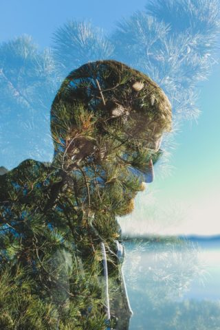 double exposure, man, nature