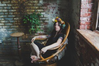 BeePie, floral crown, portraits