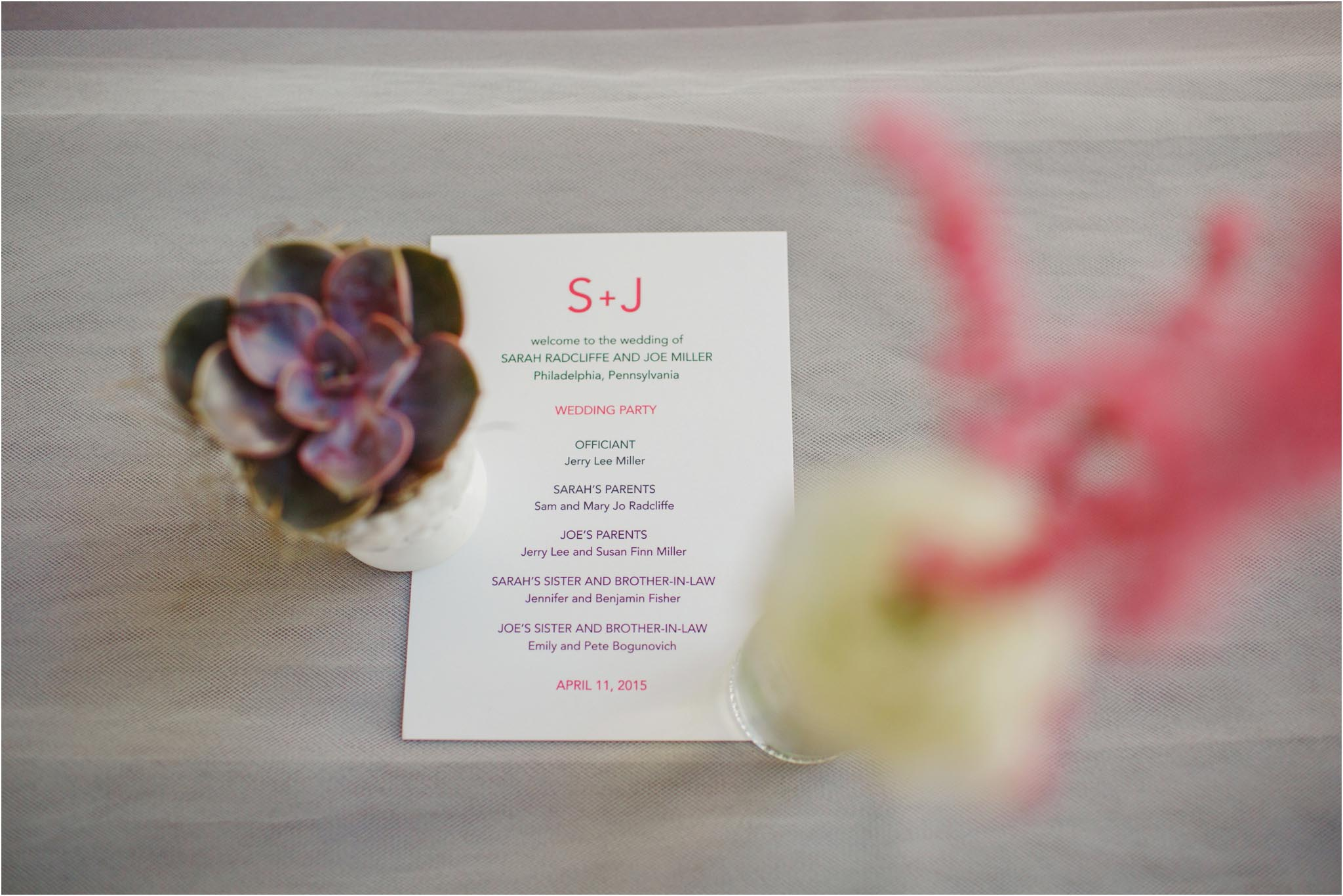 program, succulent, wedding