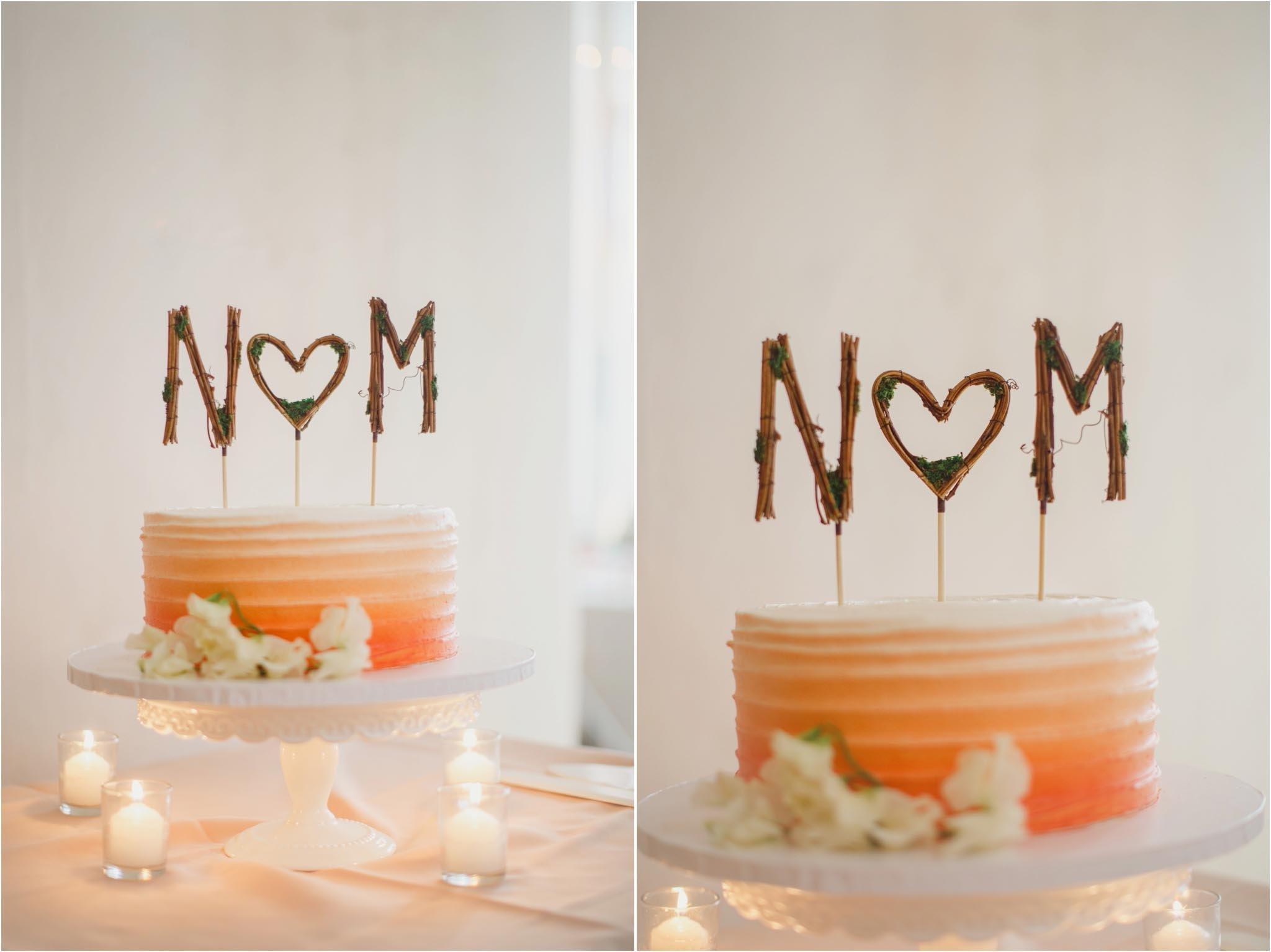 nom, cake topper, ombre cake