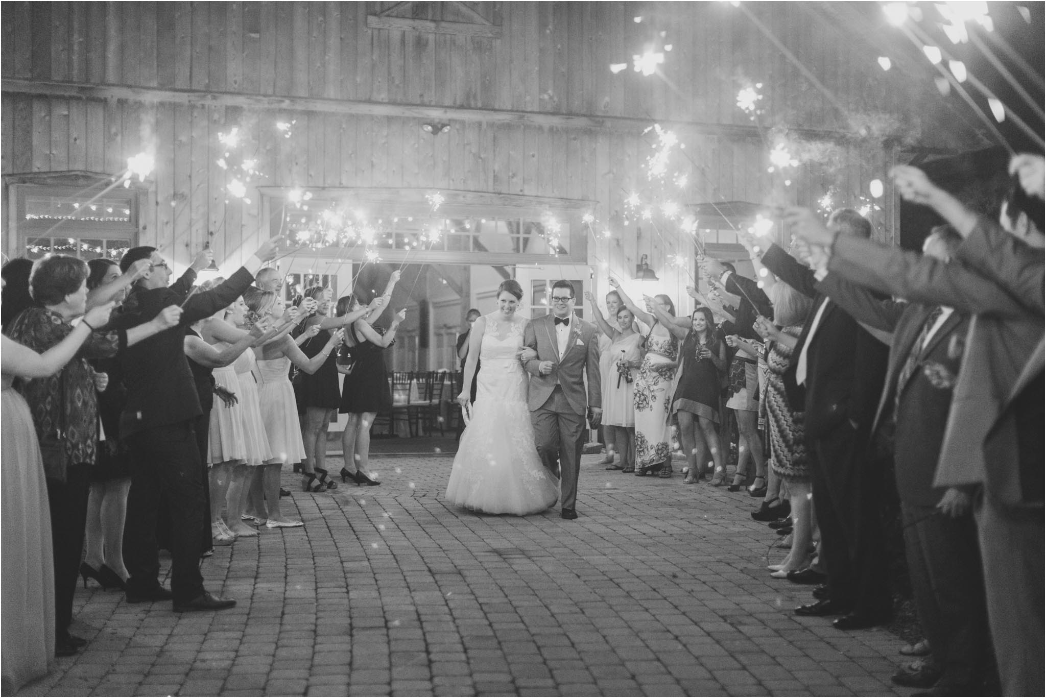 sparkler exit, wedding, rustic, barn