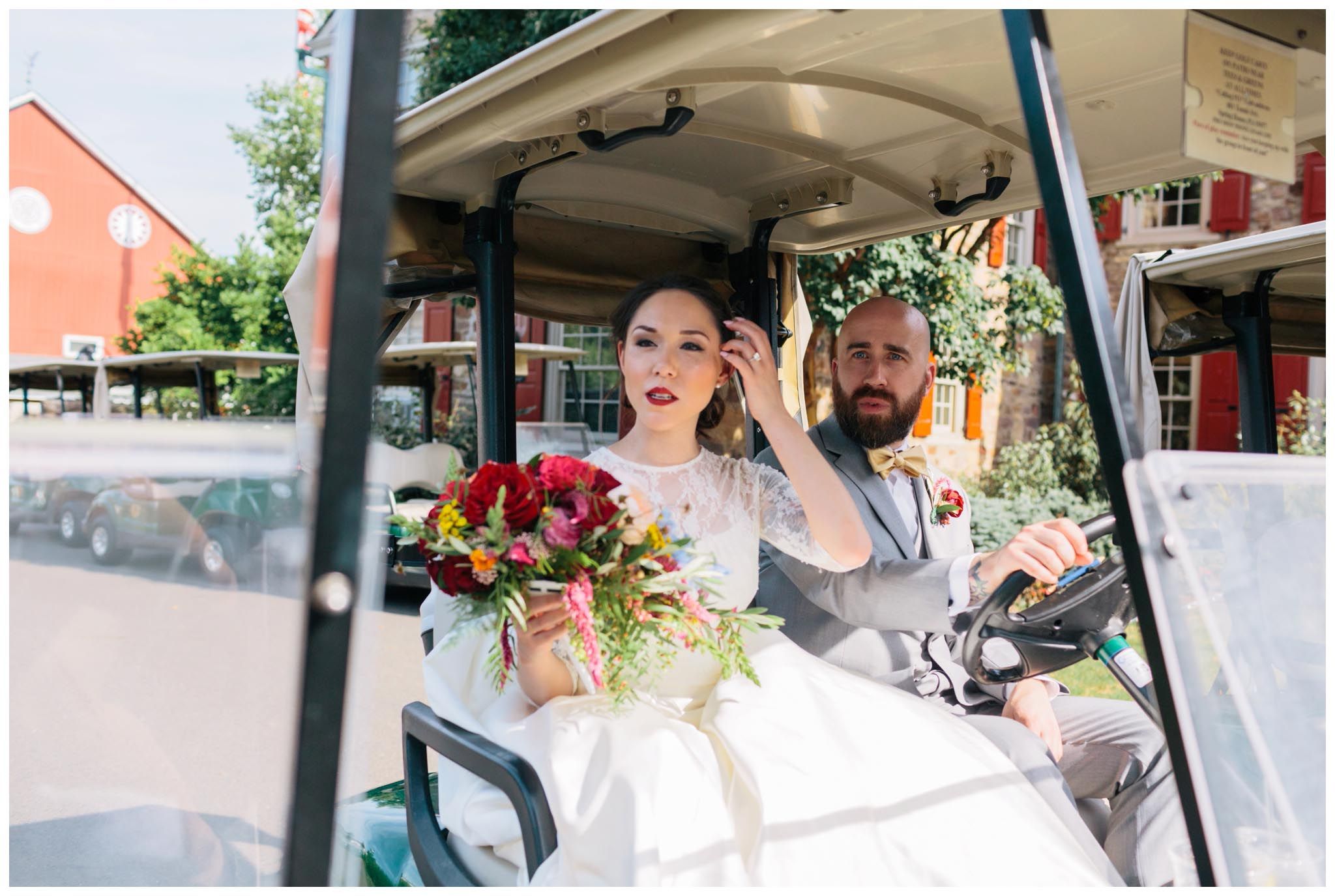 golf cart, portraits, Philadelphia, wedding