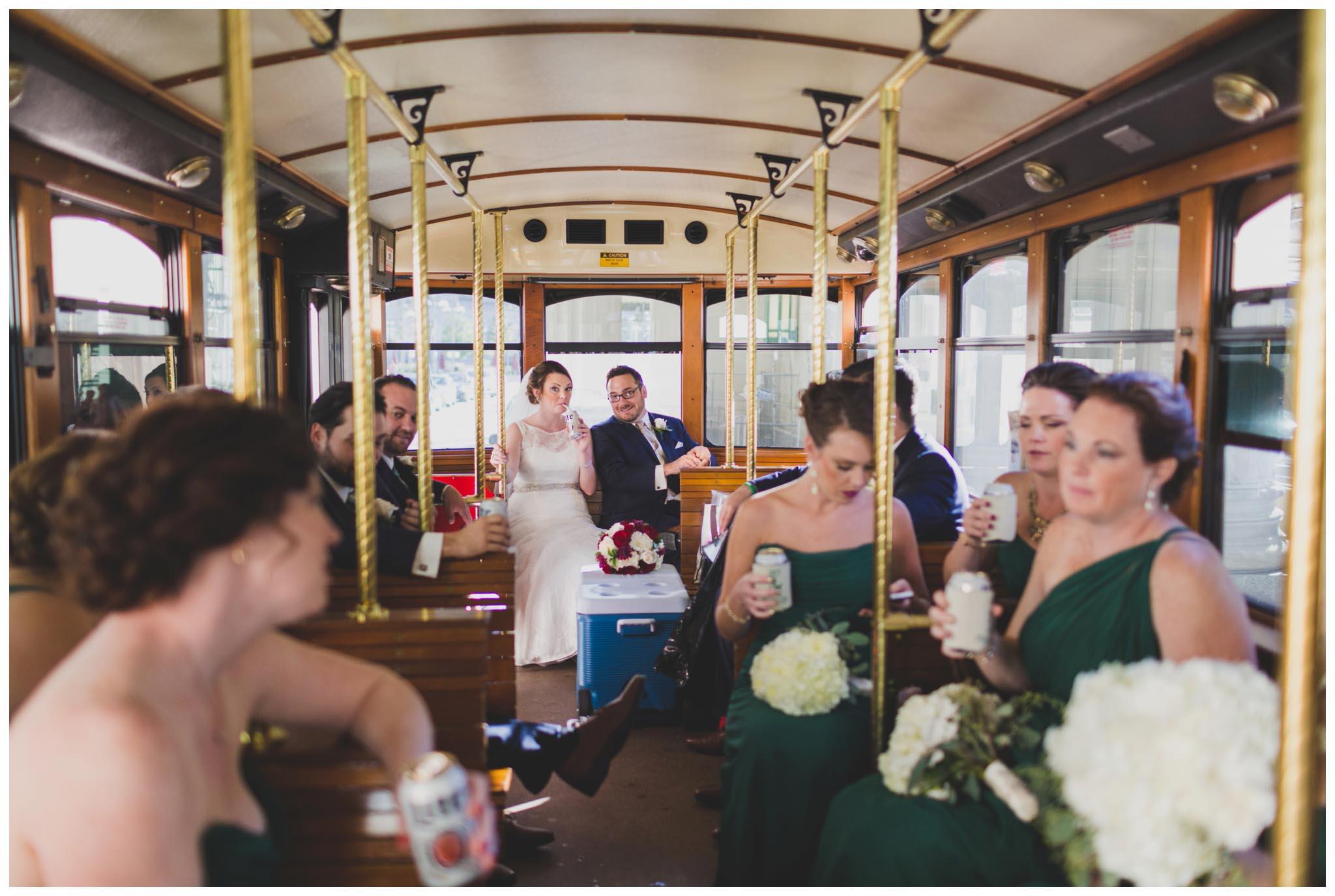 trolley, wedding, Philadelphia, bridal party