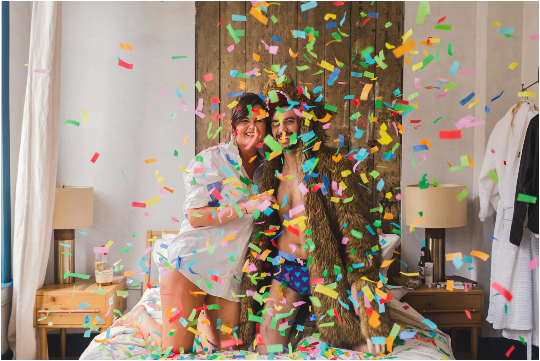 engagement, bear robe, confetti