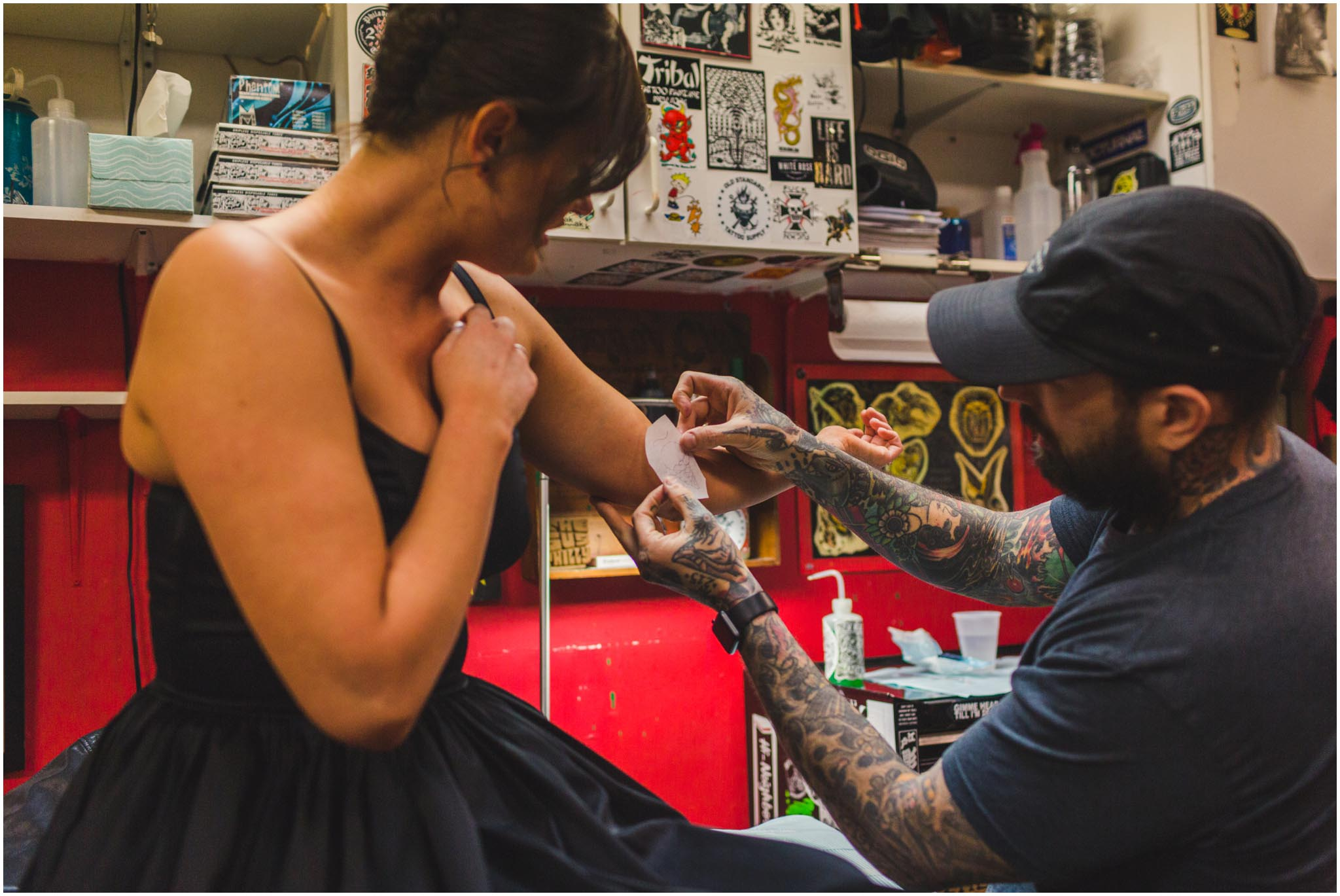 matching tattoos, engagement, tattoo shop