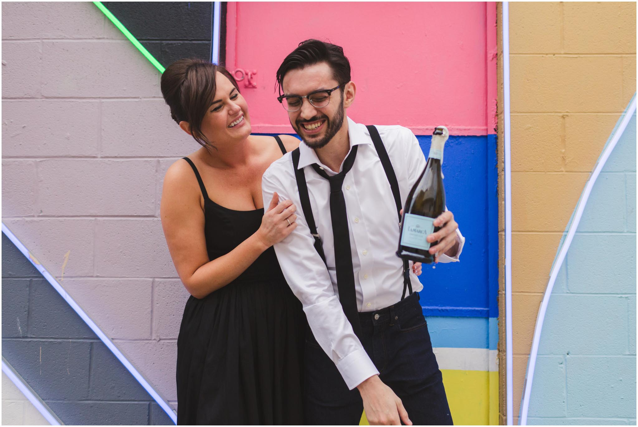 engagement photos, champagne
