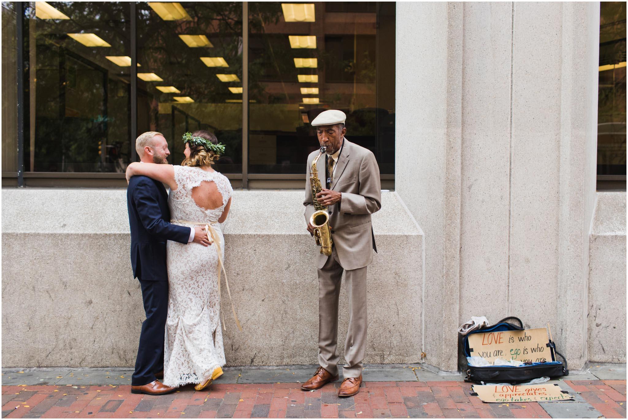Philadelphia, street musician, wedding