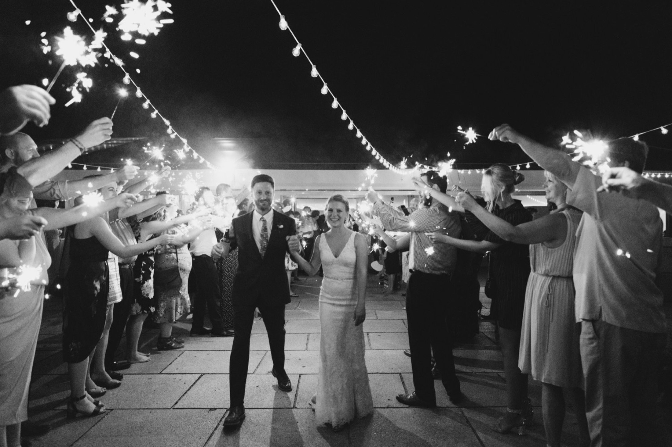 sparkler exit, wedding, Philadelphia