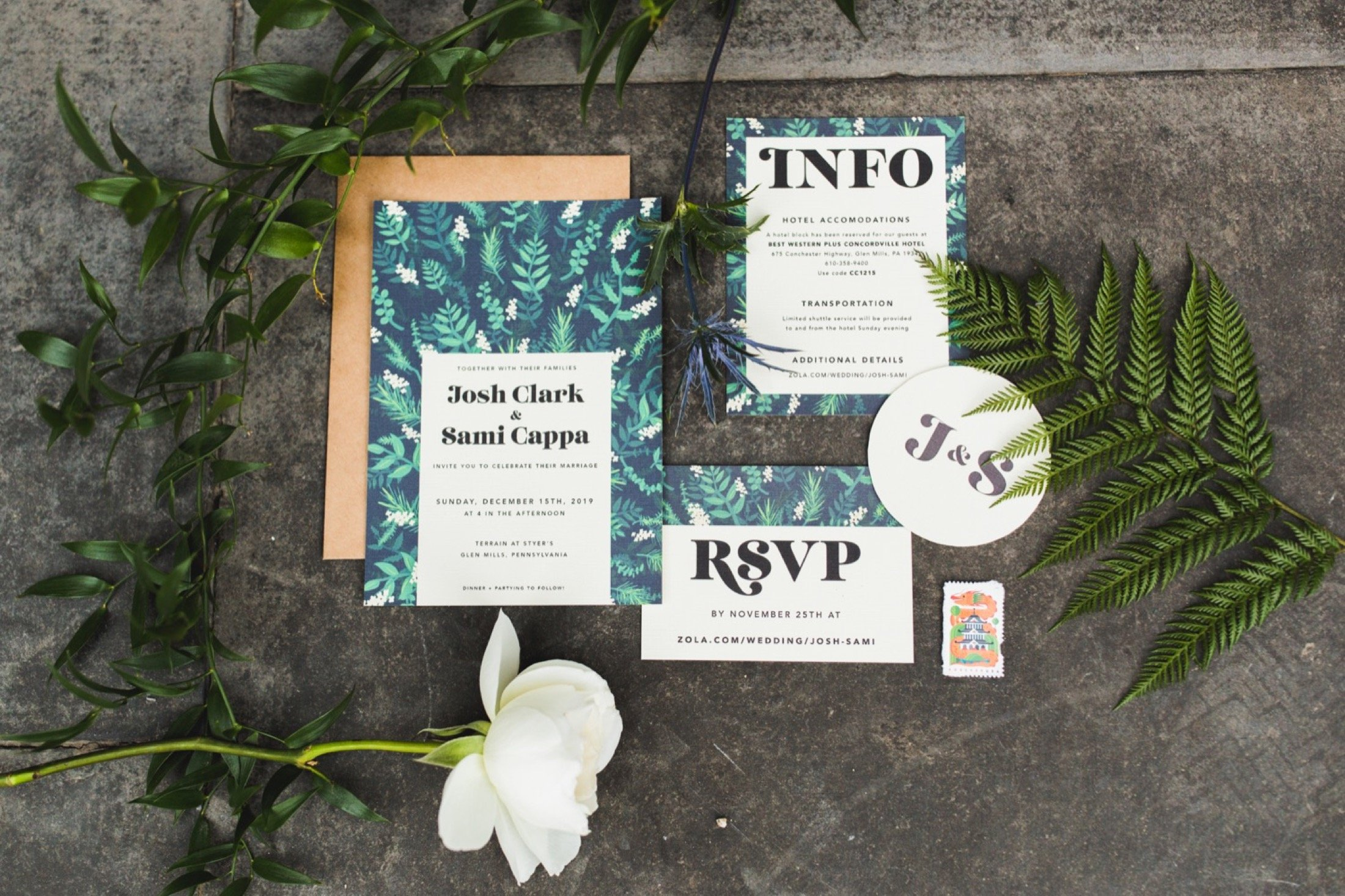 invitation flat lay, how to, plants