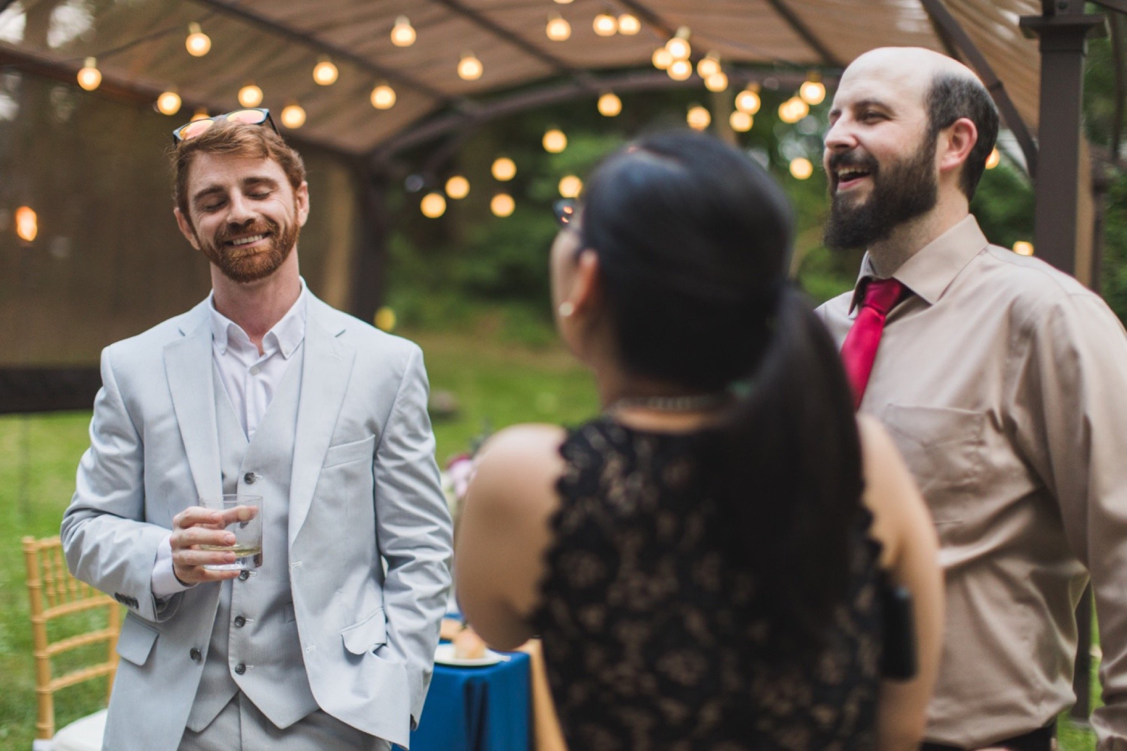 intimate wedding, backyard, dinner, New Jersey