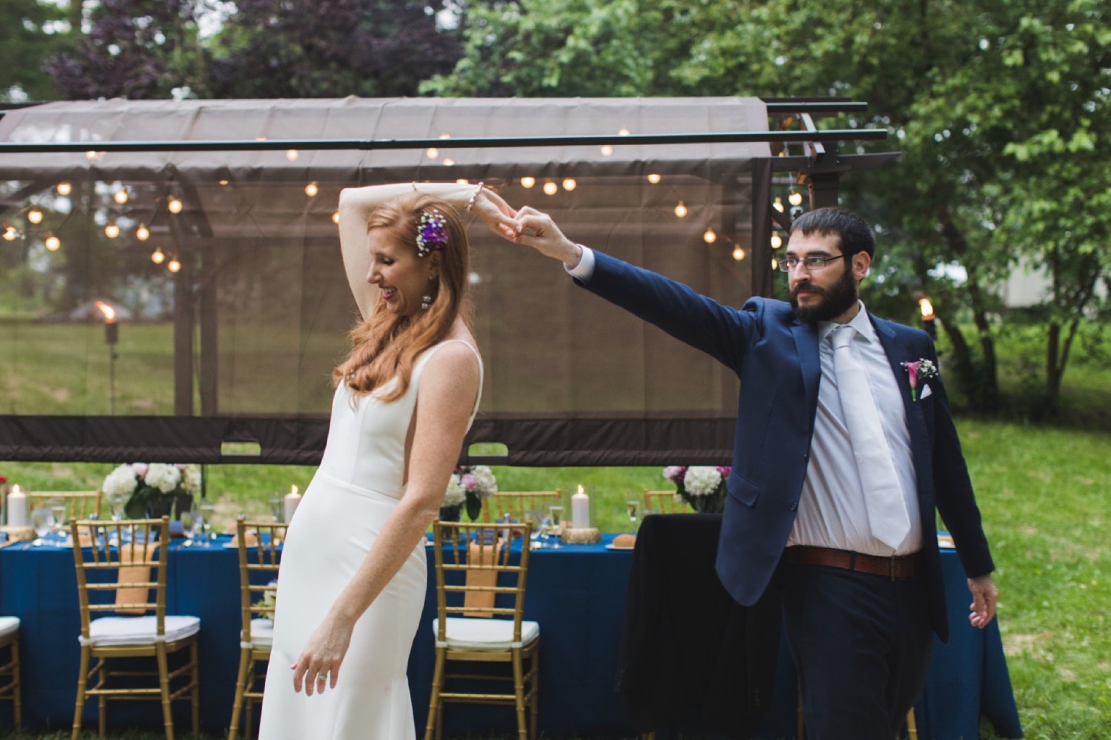 intimate wedding, backyard, dance floor, Pennsylvania