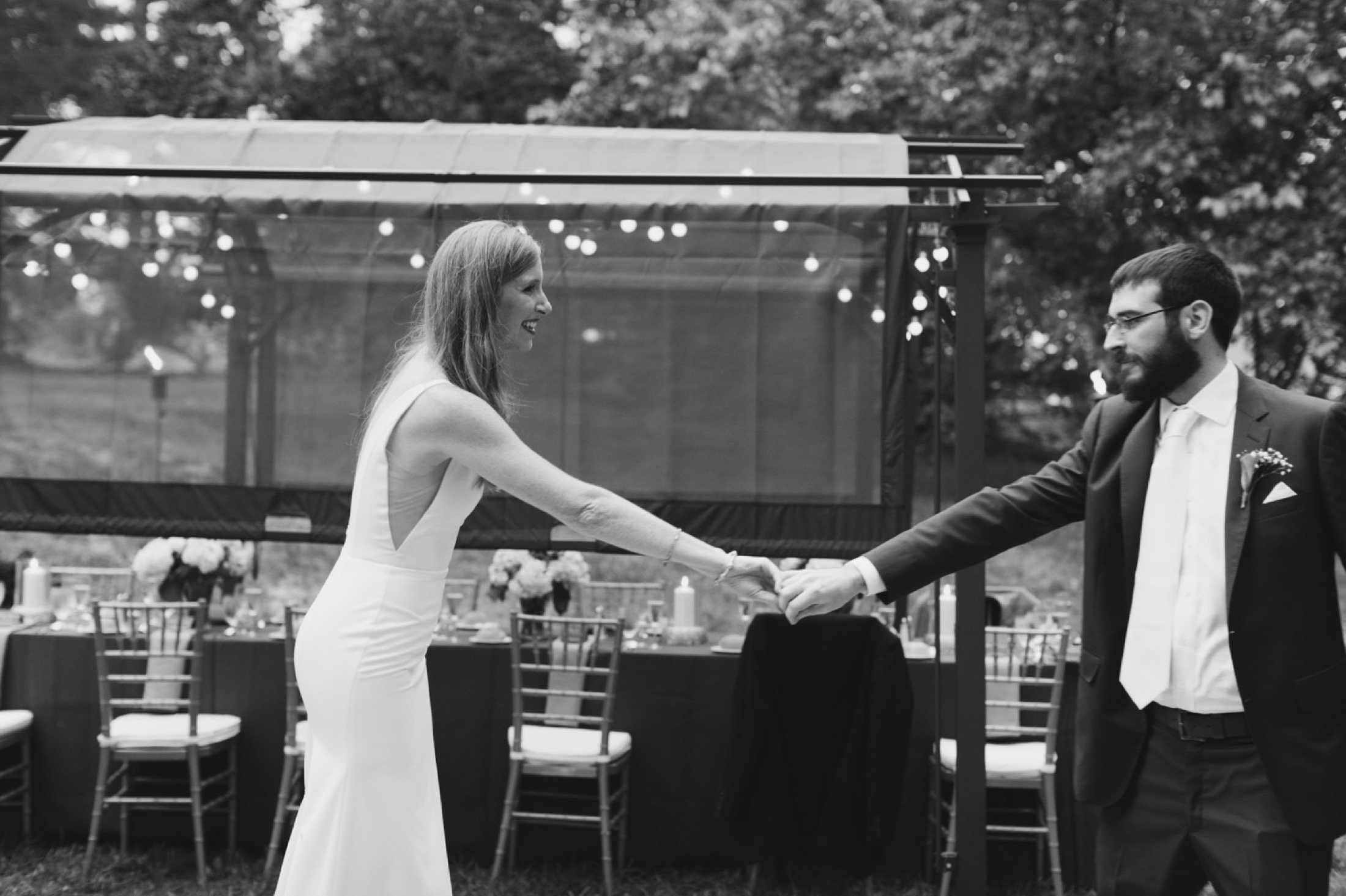 intimate wedding, backyard, dance floor, New Jersey