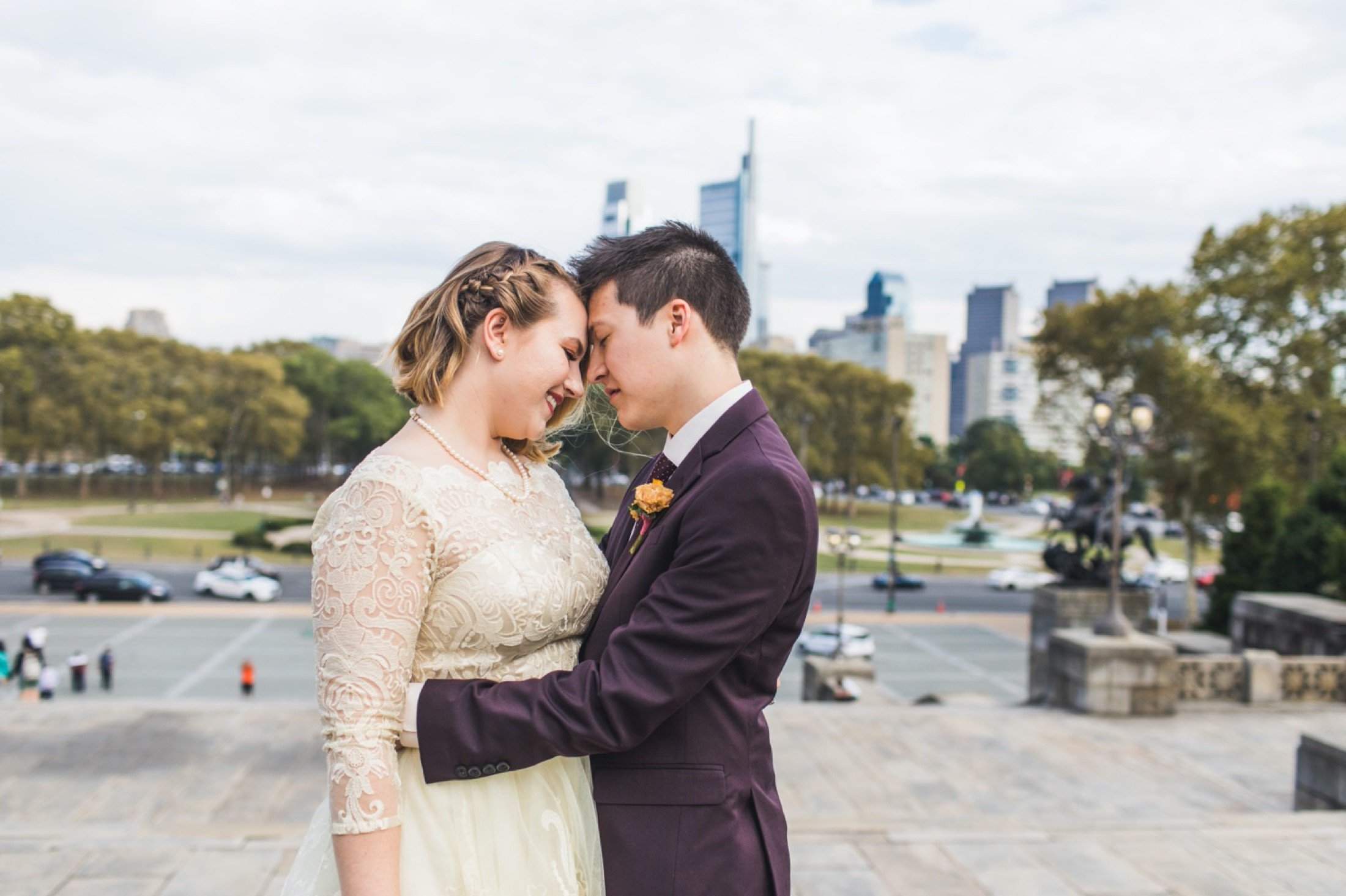 Philadelphia Museum of Art, elopement, Philadelphia, microwedding, skyline