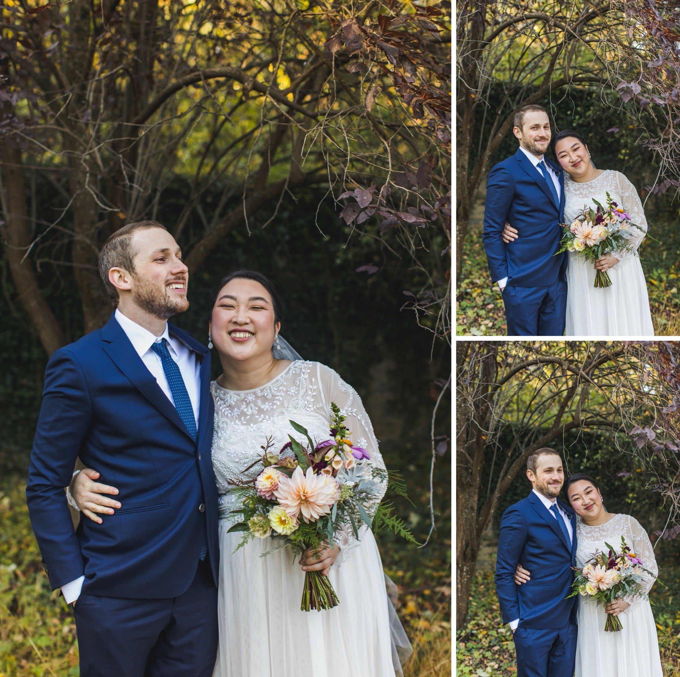 A grid of photos of Oki and Adam, smiling in wedding attire.
