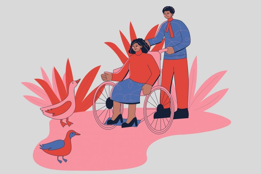 Vibrant illustration of two people of color, one a wheelchair user, enjoying nature together.