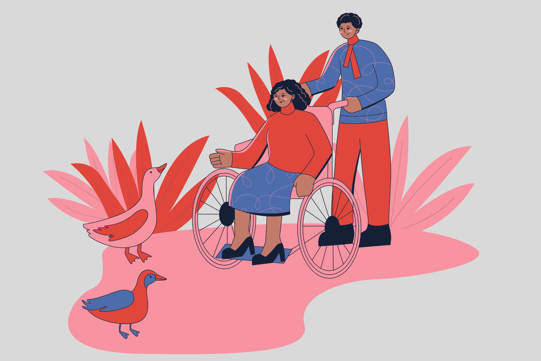 Colorful illustration with pink, red, and blue of two people of color enjoying nature together. One person is in a wheelchair and wearing a skirt, while the other is pushing their chair and wearing a shirt and pants.