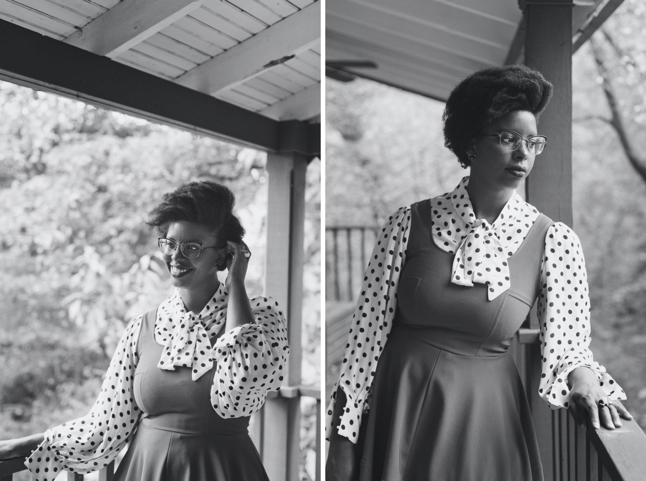 Liz on her back porch, edited in black & white for her Philadelphia portrait session