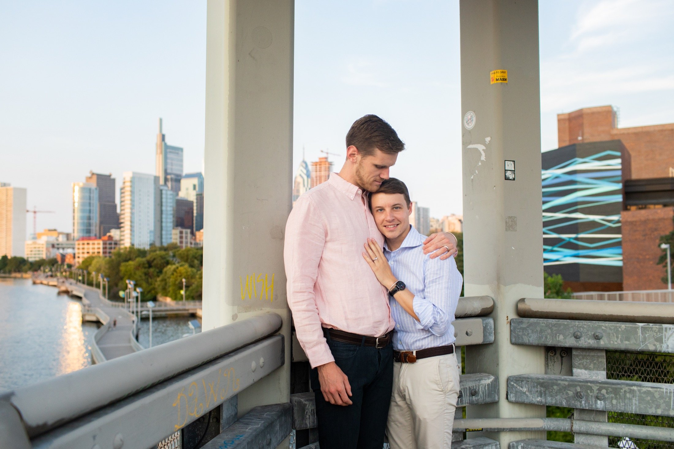 South Street Bridge, Philadelphia, engagement, sunset, LGBTQIA+